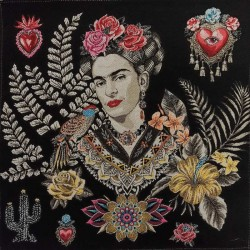 Coupon Frida Kahlo 47x47cm noir